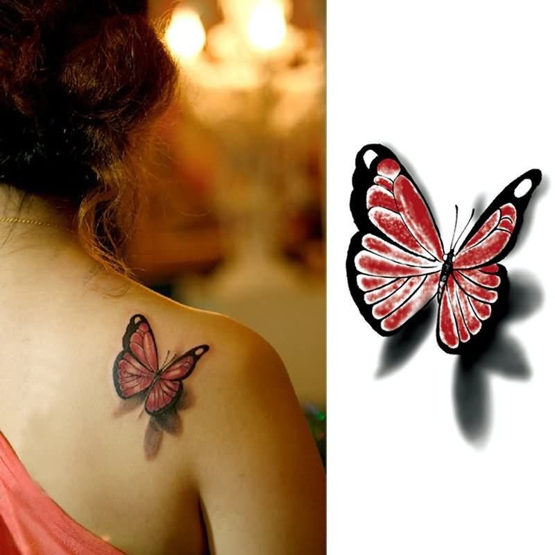 Simple 3D Butterfly Tattoo On Right Back Shoulder