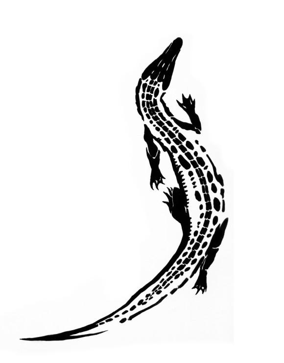 8b572c219 Simple Black Alligator Tattoo Stencil