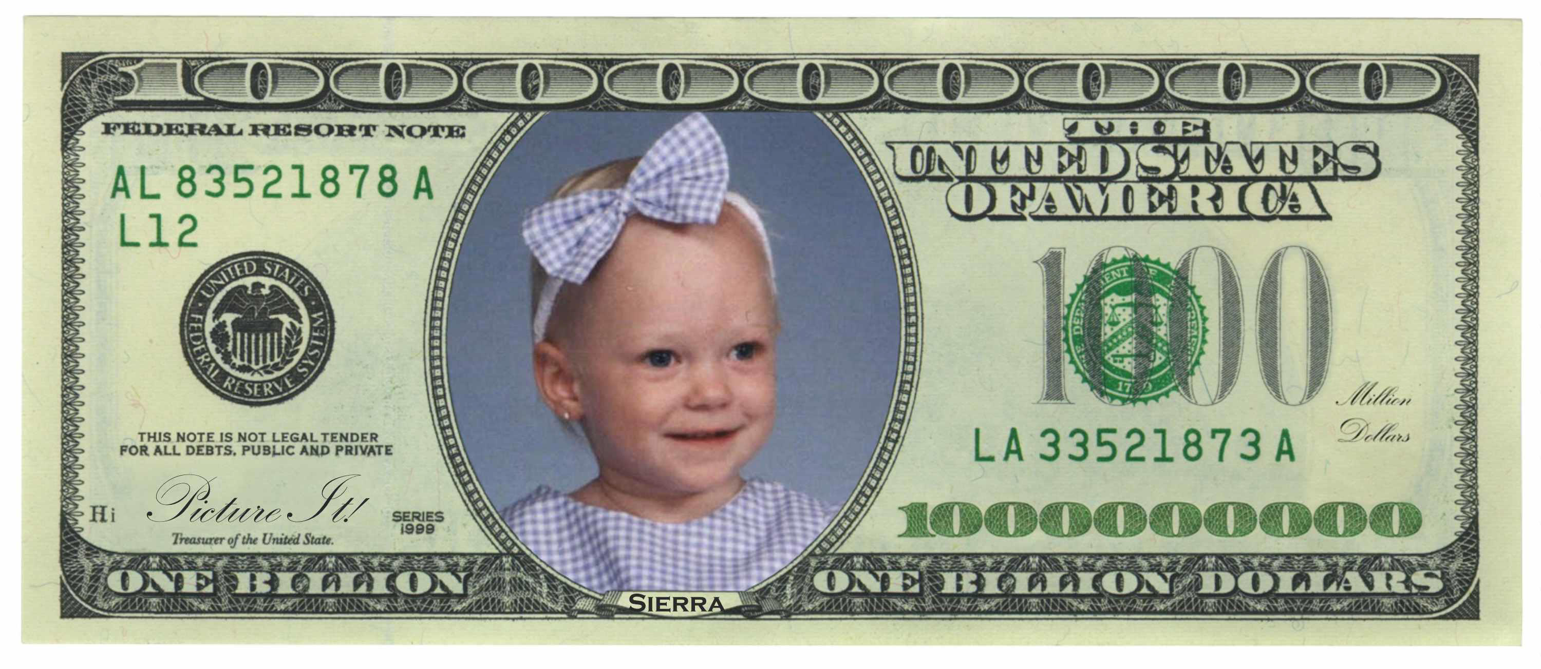 Smiling Baby Face On One Billion Dollars Funny Image
