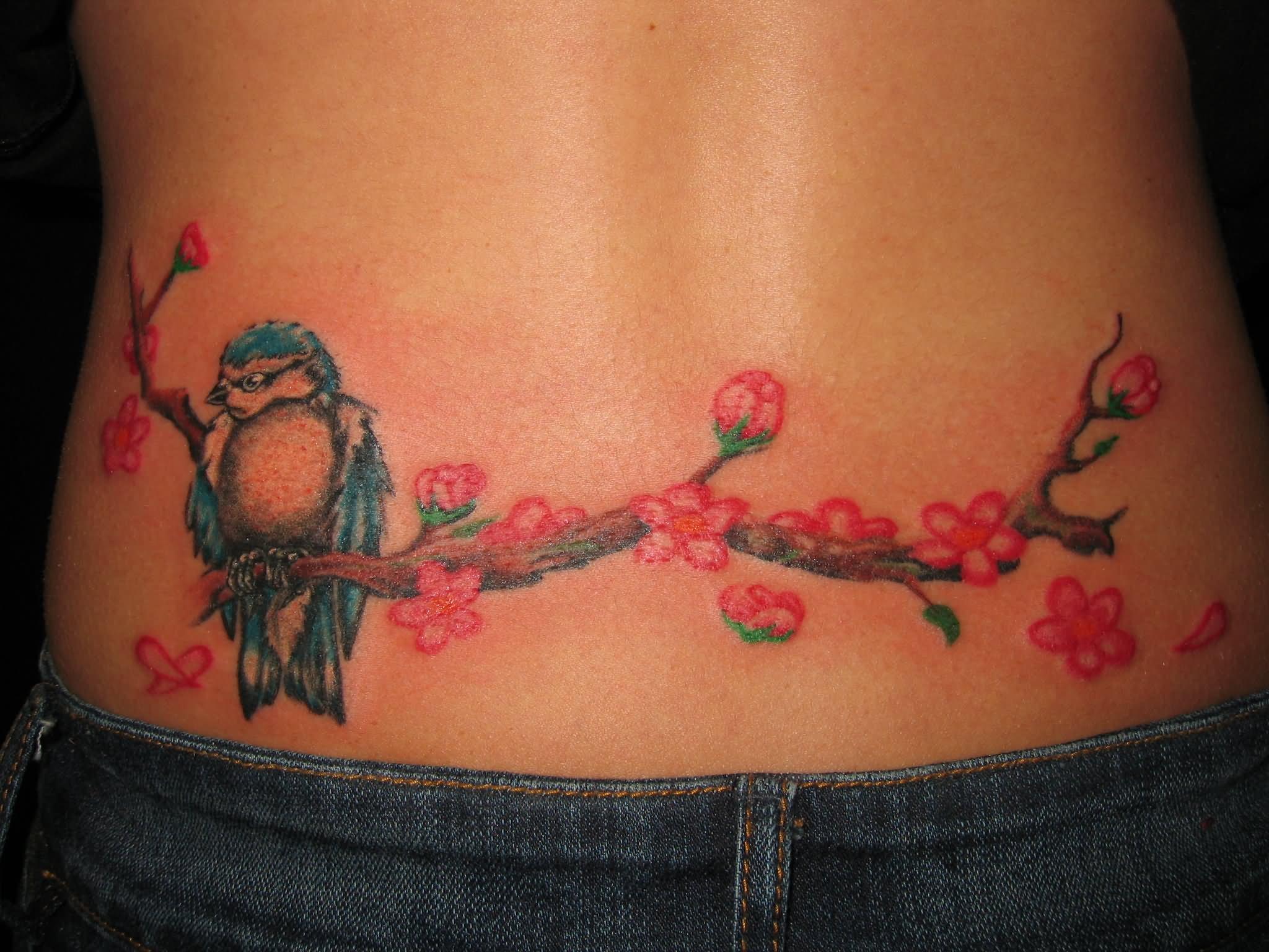 41ee2d280 Sparrow Sit On Cherry Blossom Tree Tattoo On Waist