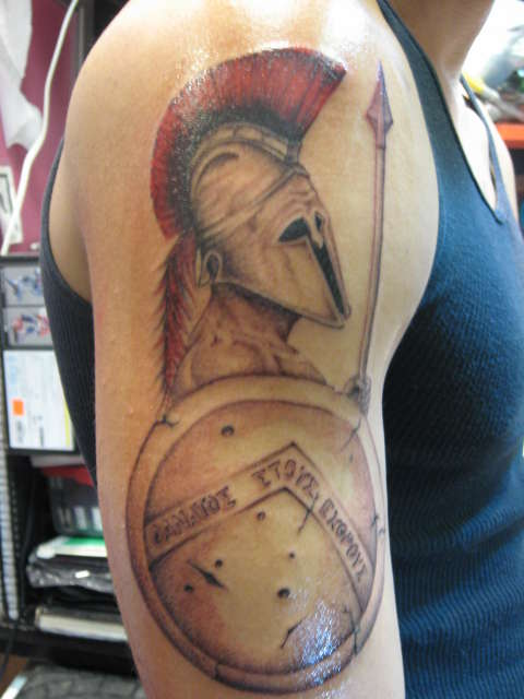 Spartan Spear And Shield Tattoo On Half Sleeve