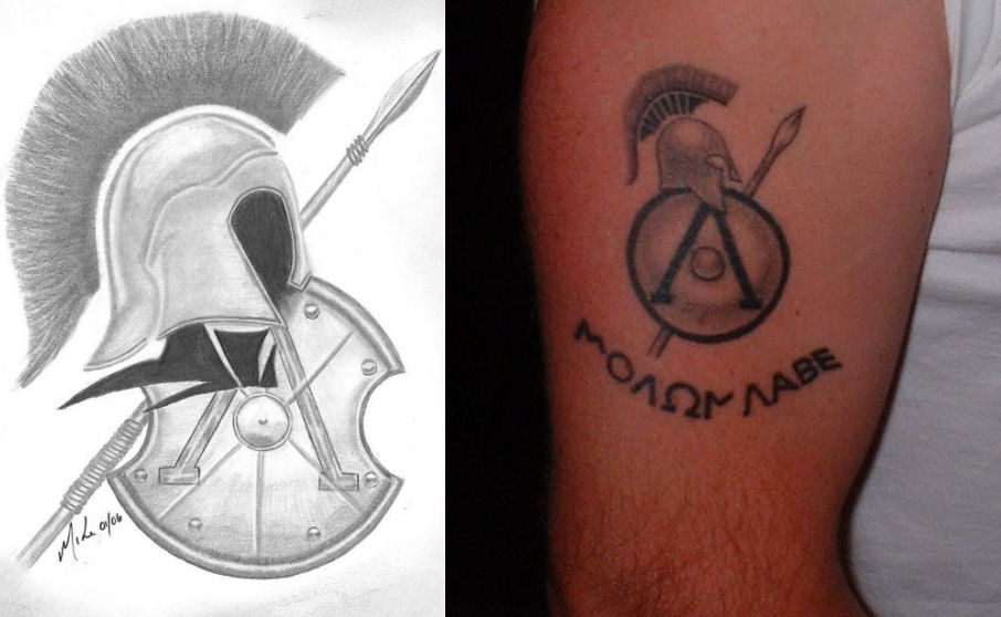 5ae2dc29688f4 Spartan Tattoo On Right Bicep by Diredeath