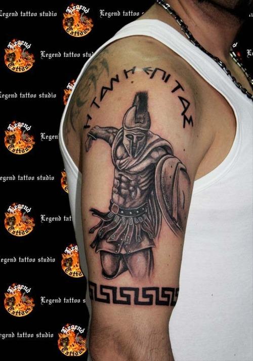 91e3b4d845cec Spartan Warriors Tattoo On Man Right Half Sleeve