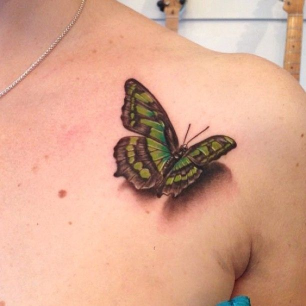 Unique 3D Butterfly Tattoo Design For Front Shoulder