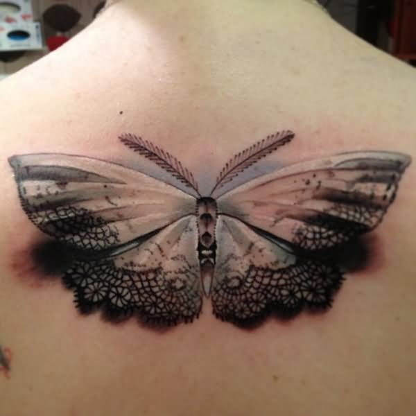 Unique 3D Butterfly Tattoo Design For Upper Back