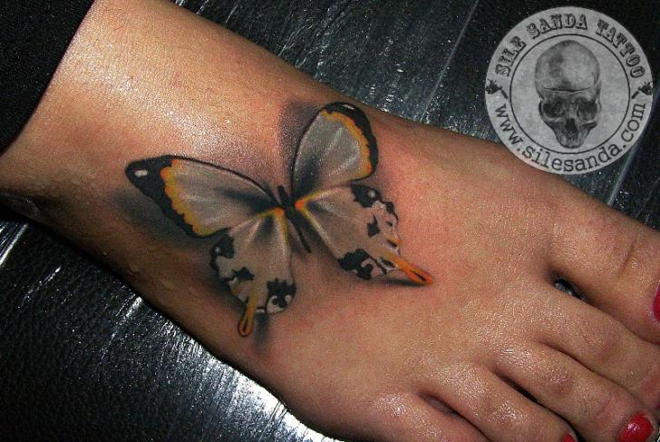 Unique 3D Butterfly Tattoo On Girl Foot By Sile Sanda