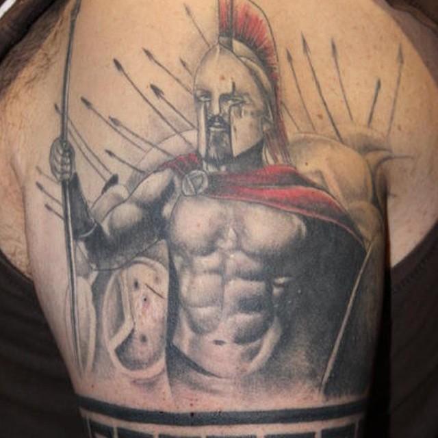 cd391c027e339 Warrior Spartan Tattoo On Left Shoulder For Men