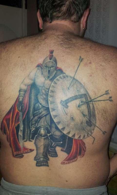 f6ad764b02197 Warrior Spartan Tattoo On Man Full Back