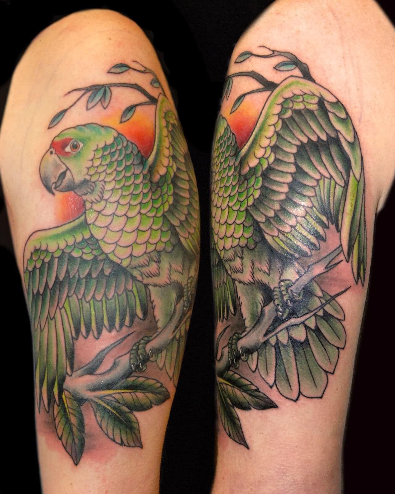 90 cool parrot tattoos. Black Bedroom Furniture Sets. Home Design Ideas