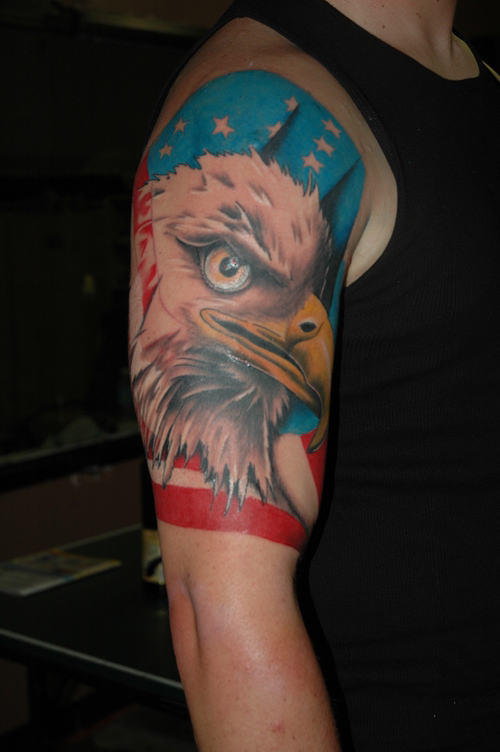100 incredible american tattoos for Eagle sleeve tattoo