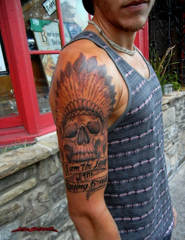 Native American Skull With Banner Tattoo On Man Right Half Sleeve