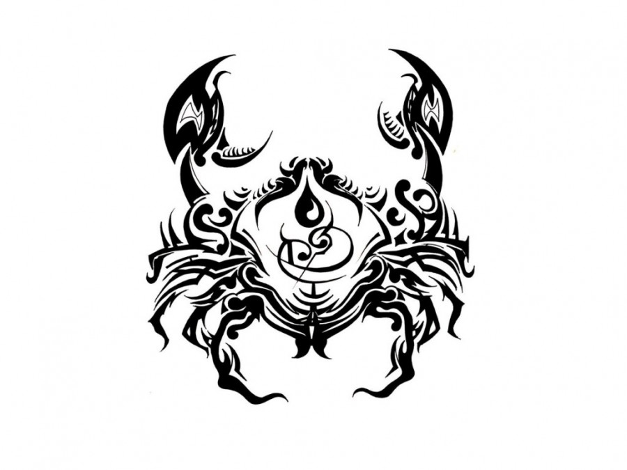 Nice Black Tribal Cancer Zodiac Tattoo Design