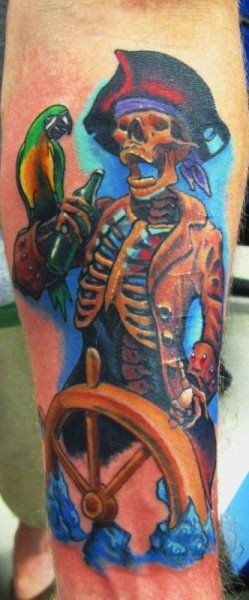90 cool parrot tattoos for Skeleton pirate tattoo