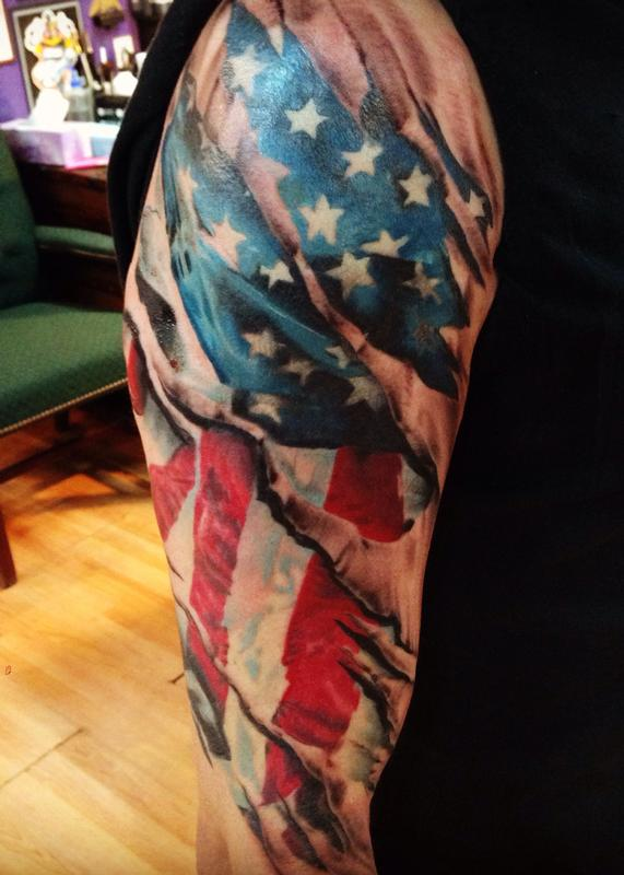 Ripped Skin American Flag Tattoo On Half Sleeve