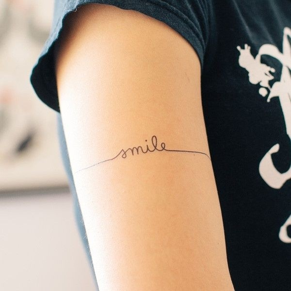 40 best armband tattoos smile lettering armband tattoo on right half sleeve urmus Choice Image