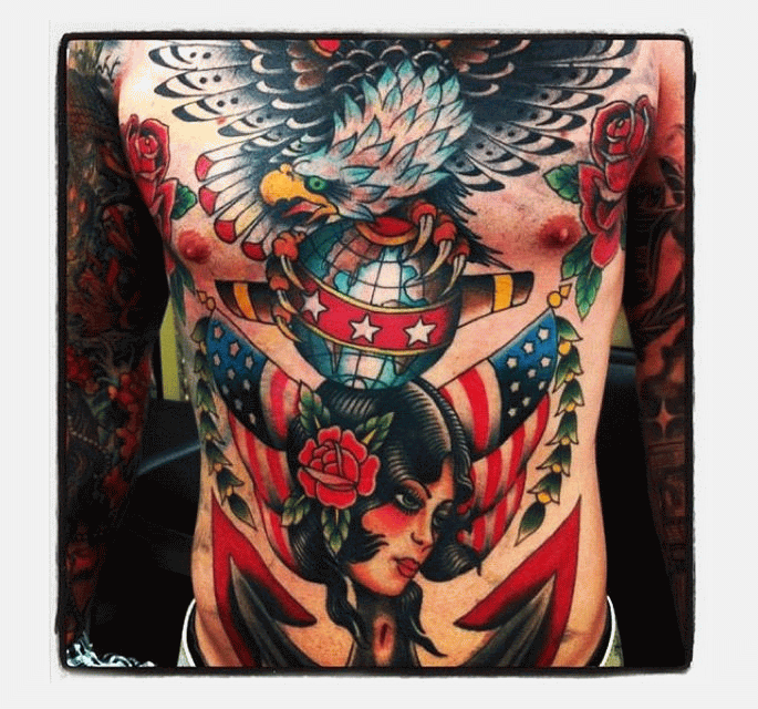 Traditional eagle with american flag tattoo