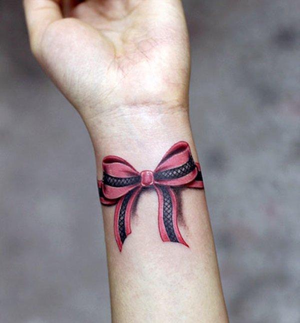 3d Ribbon Bow Wristband Tattoo On Wrist