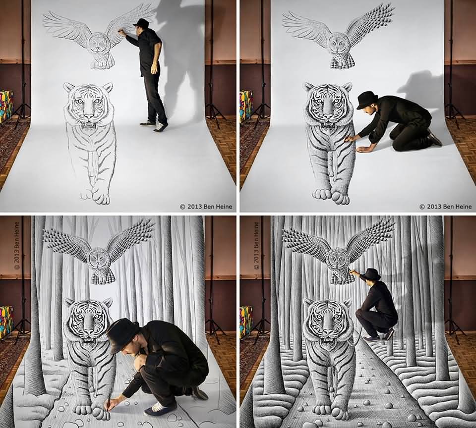 3D Tiger and owl Painting by Ben Heine