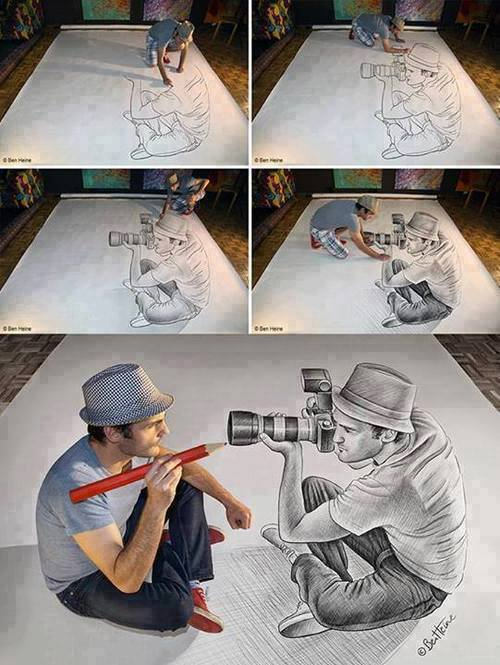 Awesome 3D Optical Illusion Portrait by Ben Heine