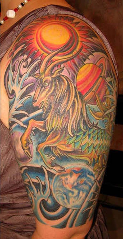 bdb23466b Beautiful Colored Capricorn Tattoo On Half Sleeve For Men