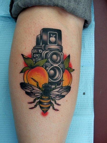 3bca3664f Bee With Old Camera Tattoo Design For Leg