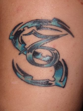 5a735f97a640e Black And Blue Capricorn Zodiac Tattoo Idea