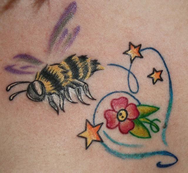 85 beautiful bee tattoos ideas. Black Bedroom Furniture Sets. Home Design Ideas
