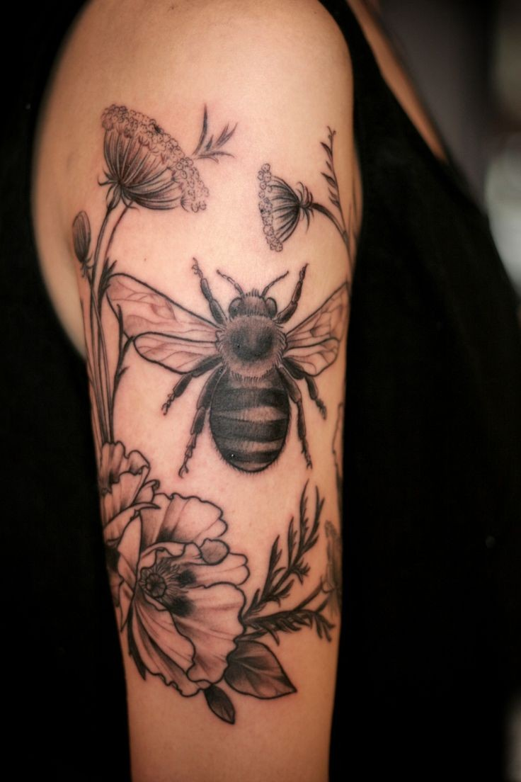 55 bees and flowers tattoos. Black Bedroom Furniture Sets. Home Design Ideas