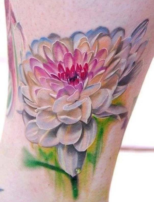 7f65f99192 3D Aqua Color Flower Tattoo Design