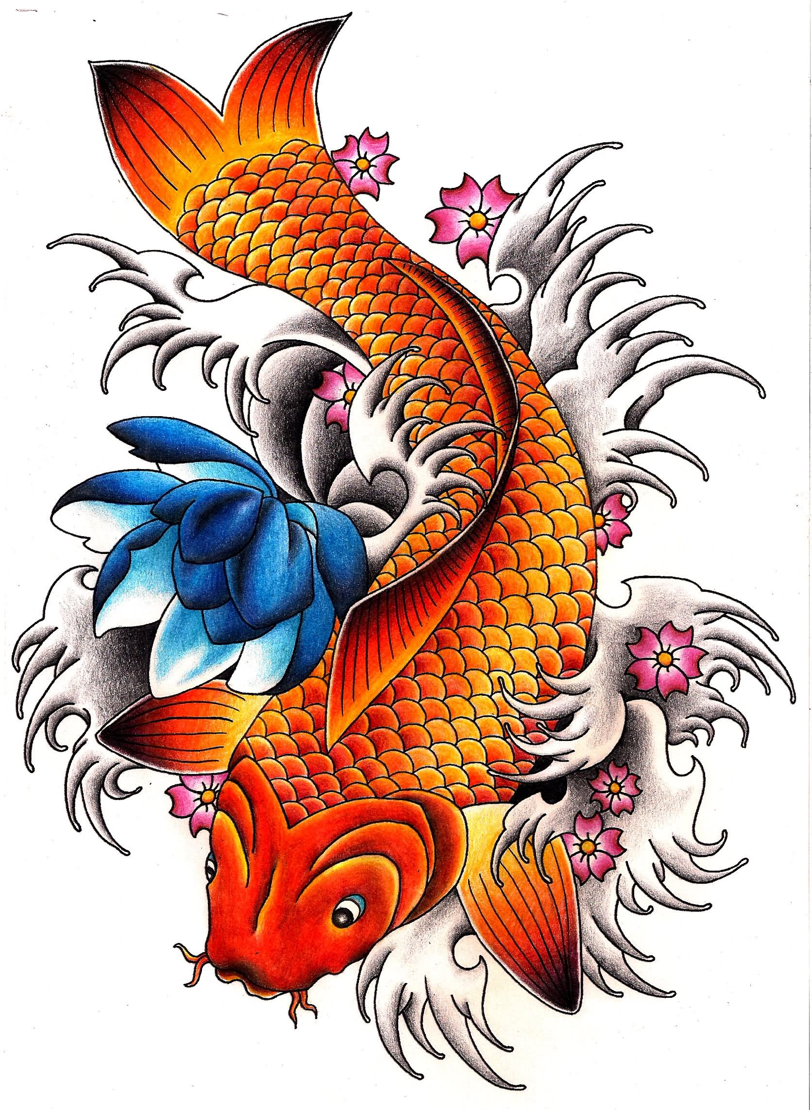 Carp fish tattoo designs for Amazing koi fish
