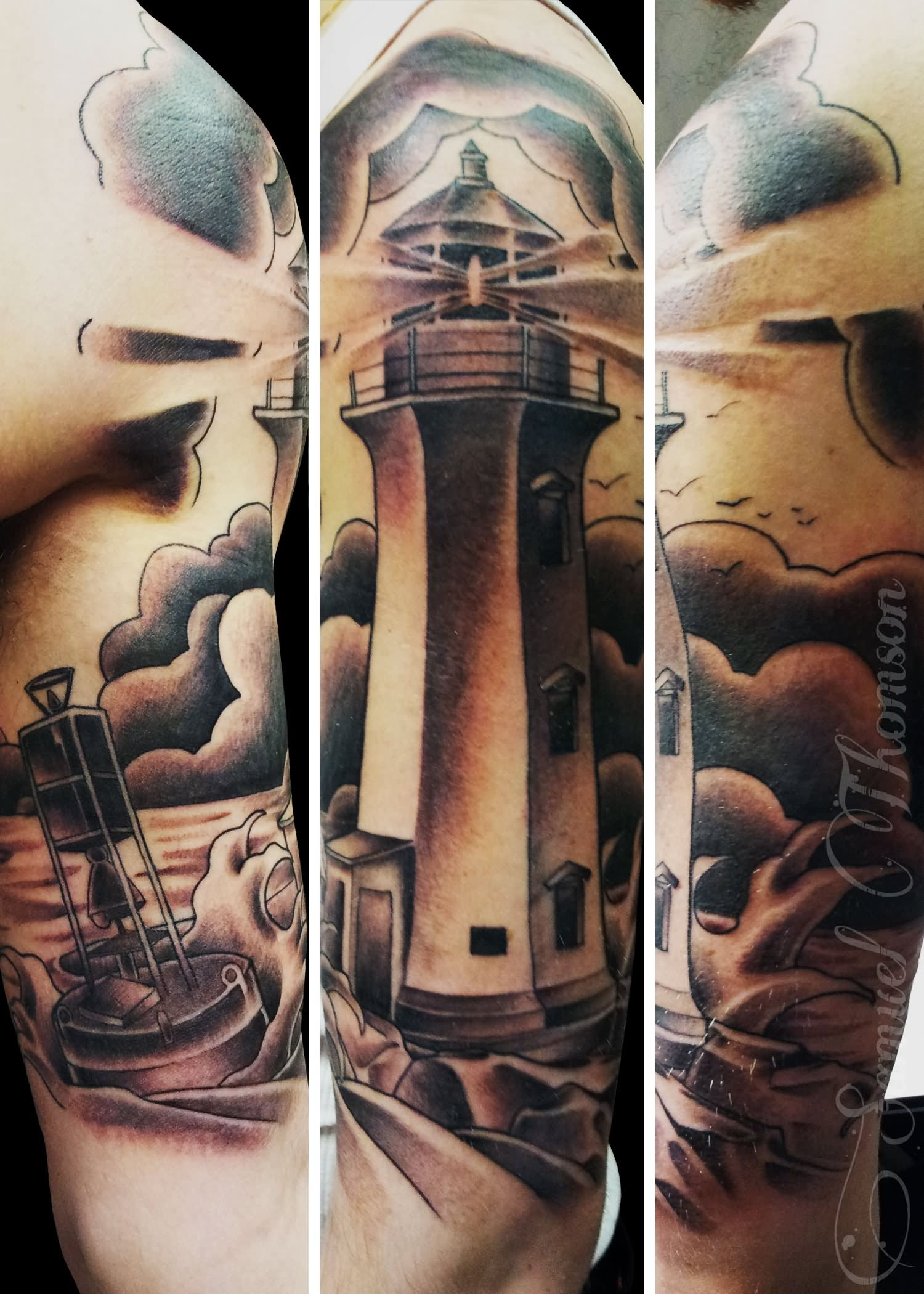 35 awesome lighthouse tattoos on legs. Black Bedroom Furniture Sets. Home Design Ideas