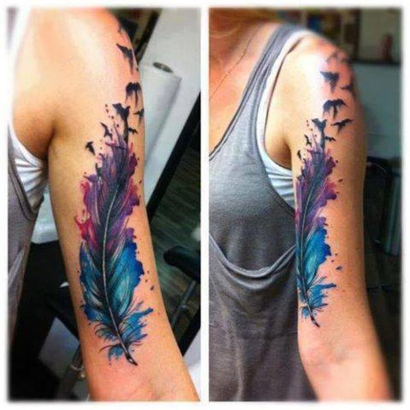 Colored Sleeve Tattoo Of Birds