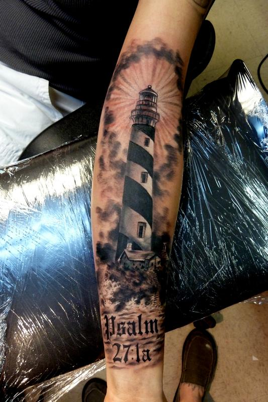 486c876e2 Awesome Lighthouse Tattoo On Left Forearm by Mully