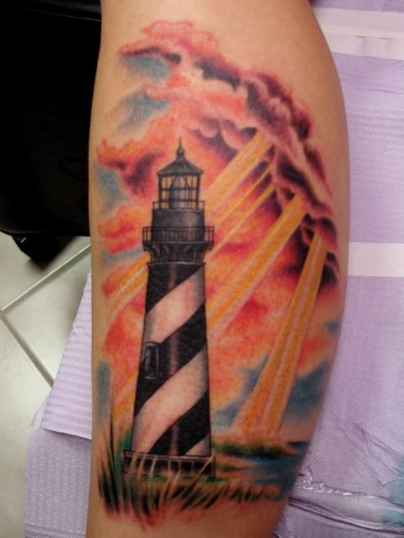 d20726505 Beautiful Color Ink Sun Shine and Lighthouse Tattoo
