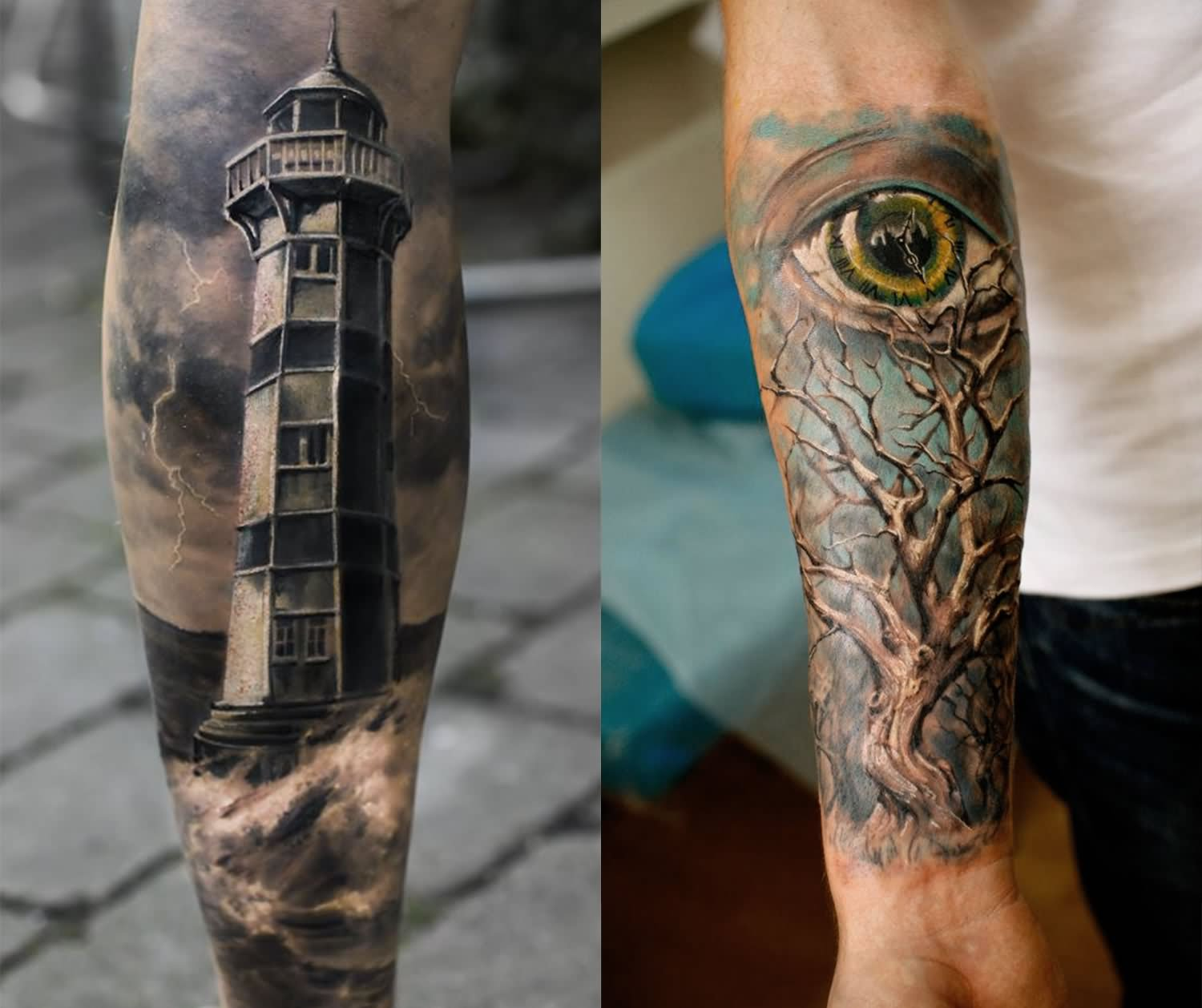 2ca7fcccb Beautiful Eye And Tree With Lighthouse Tattoos