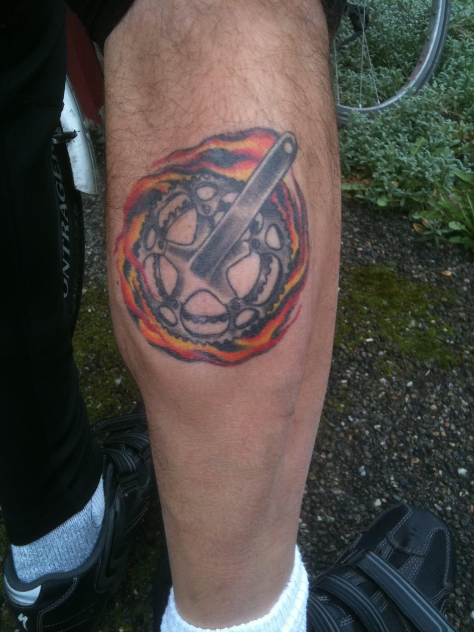 35 Mind Blowing Bike Tattoos On Calf