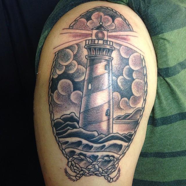 7 Shoulder Lighthouse Tattoos