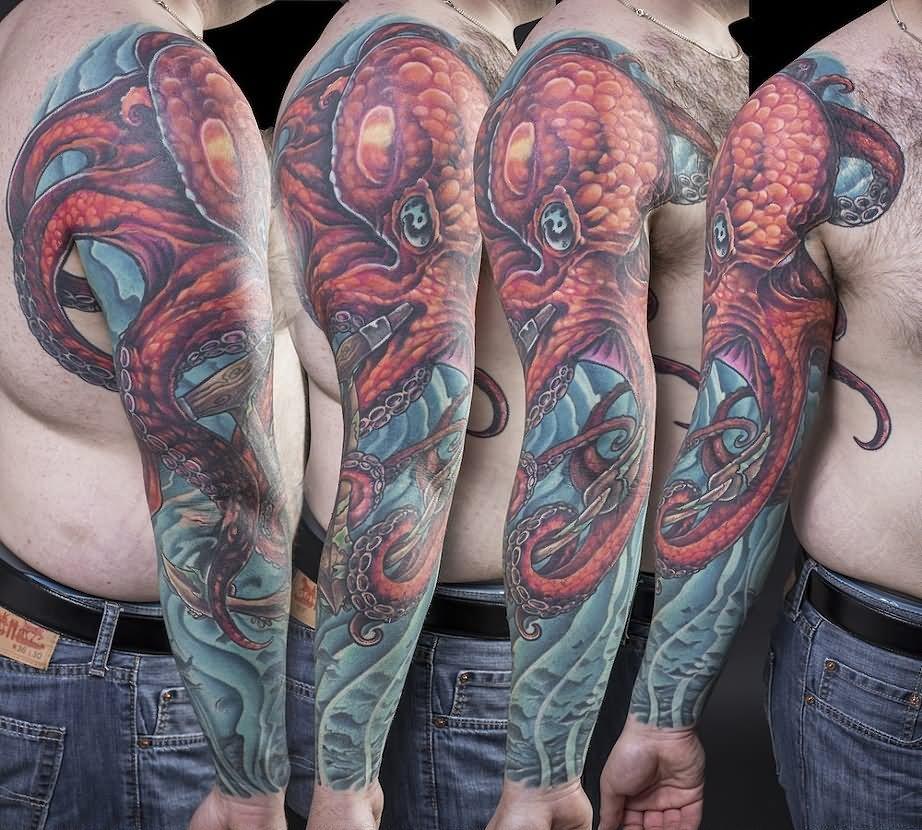 45 best octopus sleeve tattoos. Black Bedroom Furniture Sets. Home Design Ideas