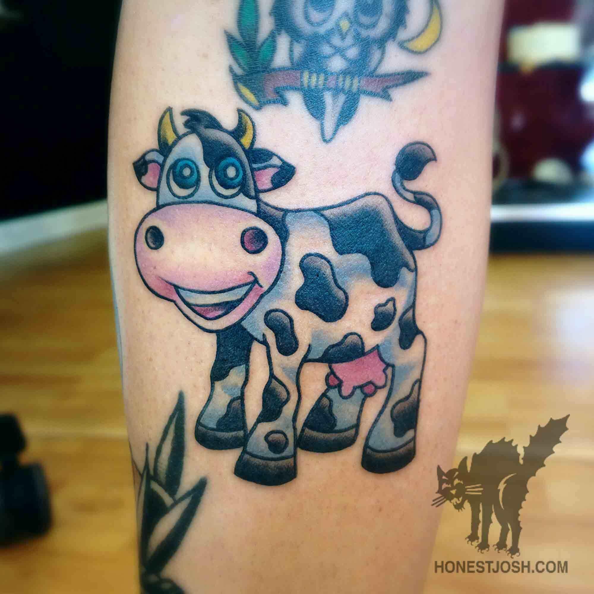 041a4c895 Cute Cow Tattoo Design For Arm