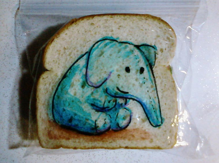 elephant funny drawing on bread image - Fun Drawings For Kids