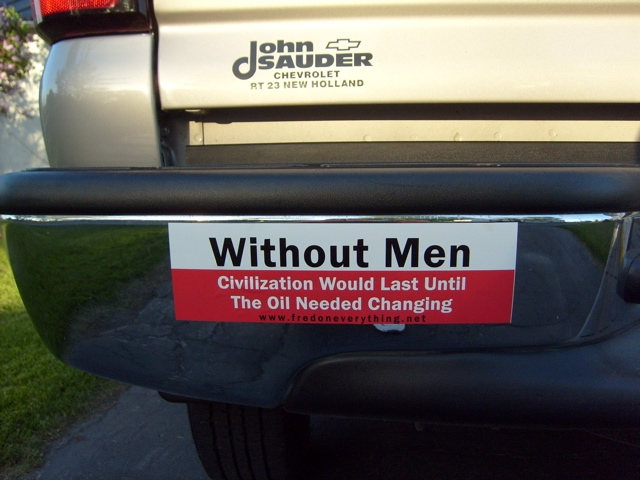 Funny without men car sticker