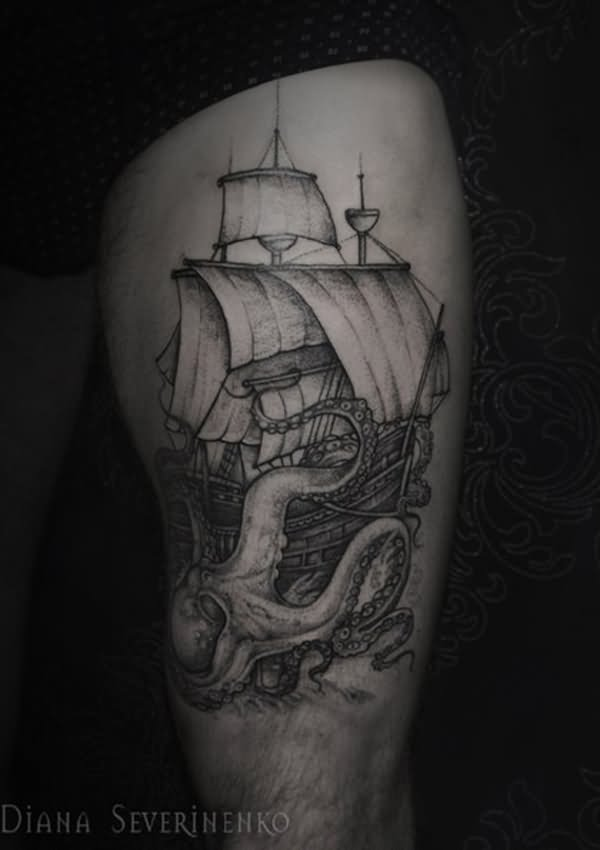 Grey Ink Ship And Octopus Tattoo On Thigh