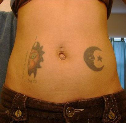Half moon and sun tattoo on belly for Half sun half moon tattoo