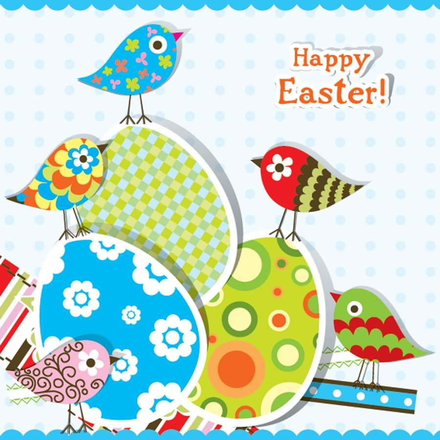 hidden message easter card happy easter birds and eggs 4662