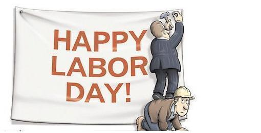 Happy Labour Day Boss Sticking Banner Standing On Workers Back