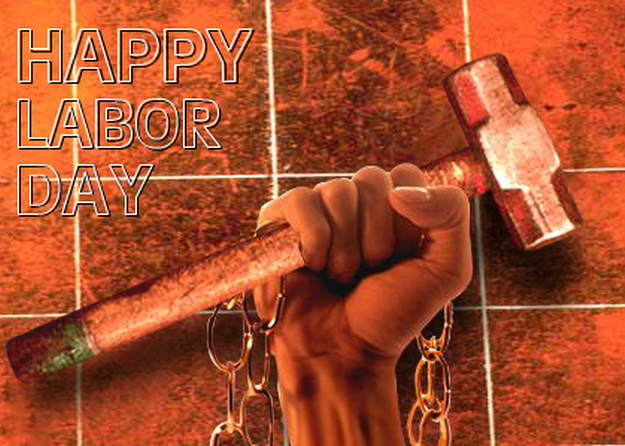 Happy Labour Day Hand With Hammer Picture