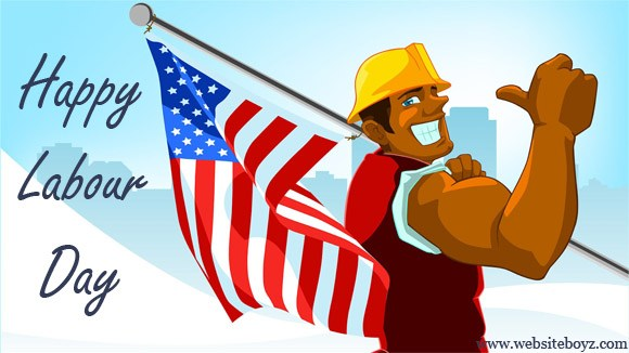 Happy Labour Day Man With American Flag