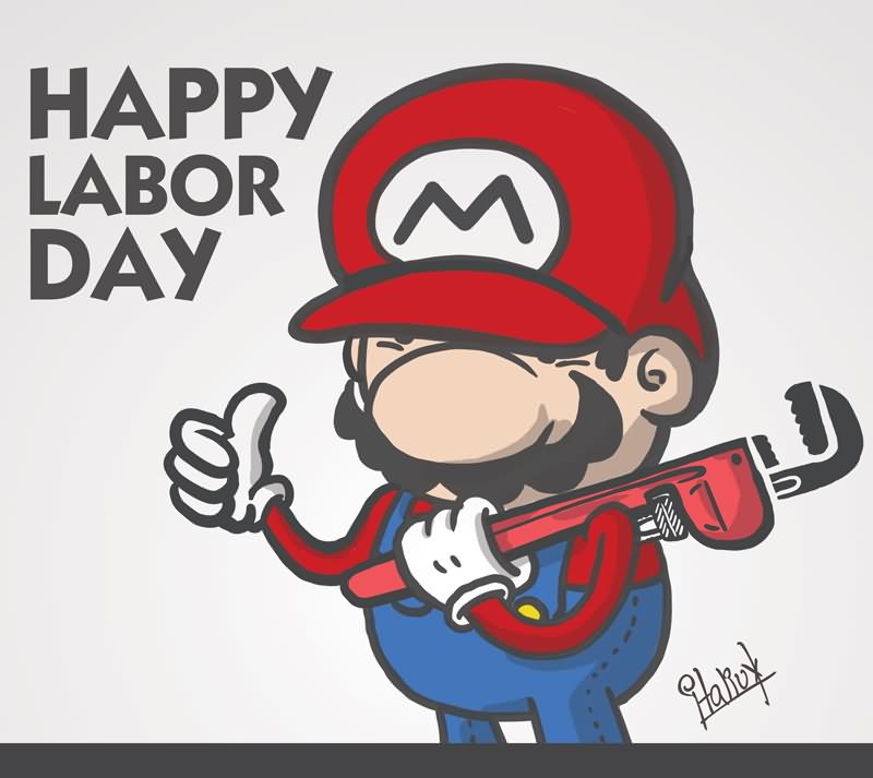 Happy Labour Day Mario With Wrench