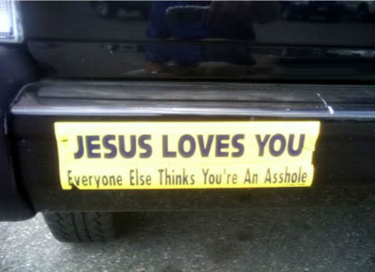 Jesus loves you funny sticker image