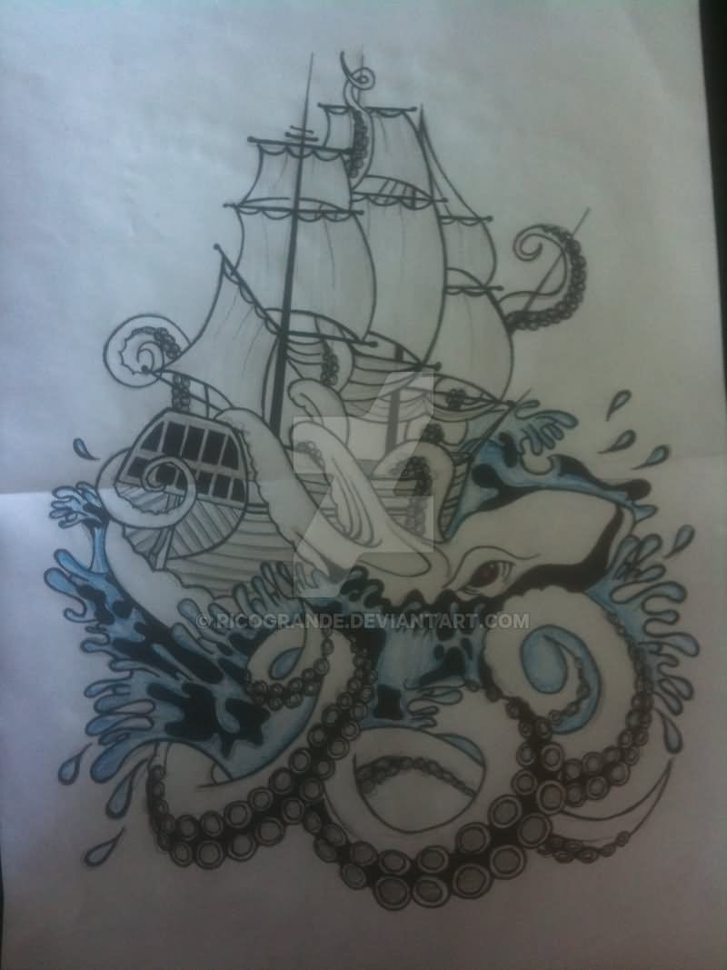 Kraken Attacking Ship Tattoo On Forearm